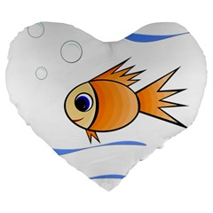 Cute Fish Large 19  Premium Flano Heart Shape Cushions by Valentinaart