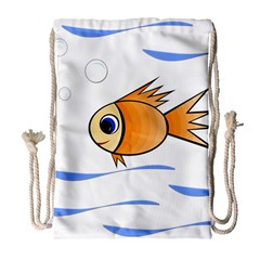 Cute Fish Drawstring Bag (large) by Valentinaart