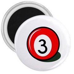 Billiard Ball Number 3 3  Magnets by Valentinaart