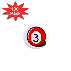 Billiard Ball Number 3 1  Mini Magnets (100 Pack)  by Valentinaart