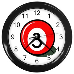 Billiard Ball Number 3 Wall Clocks (black) by Valentinaart