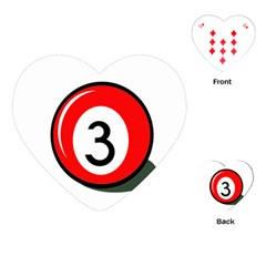 Billiard Ball Number 3 Playing Cards (heart)  by Valentinaart