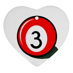 Billiard Ball Number 3 Heart Ornament (2 Sides) by Valentinaart