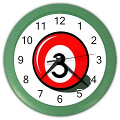 Billiard Ball Number 3 Color Wall Clocks by Valentinaart