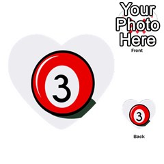 Billiard Ball Number 3 Multi Purpose Cards (heart)  by Valentinaart