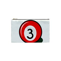 Billiard Ball Number 3 Cosmetic Bag (small)  by Valentinaart