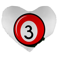 Billiard Ball Number 3 Large 19  Premium Flano Heart Shape Cushions by Valentinaart