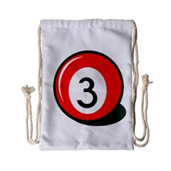 Billiard Ball Number 3 Drawstring Bag (small) by Valentinaart