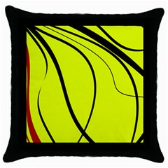 Yellow Decorative Design Throw Pillow Case (black) by Valentinaart