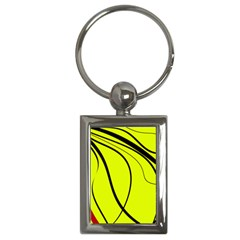 Yellow Decorative Design Key Chains (rectangle)  by Valentinaart
