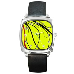 Yellow Decorative Design Square Metal Watch by Valentinaart