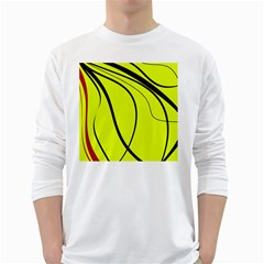 Yellow Decorative Design White Long Sleeve T Shirts by Valentinaart