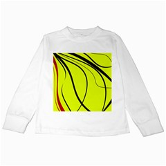 Yellow Decorative Design Kids Long Sleeve T-shirts by Valentinaart