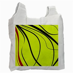 Yellow Decorative Design Recycle Bag (two Side)  by Valentinaart