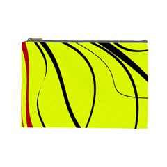 Yellow Decorative Design Cosmetic Bag (large)  by Valentinaart