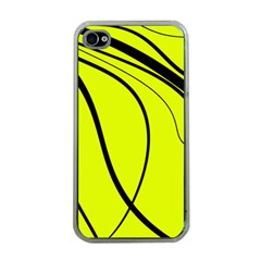 Yellow Decorative Design Apple Iphone 4 Case (clear) by Valentinaart