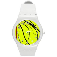 Yellow Decorative Design Round Plastic Sport Watch (m) by Valentinaart