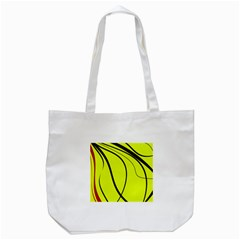 Yellow Decorative Design Tote Bag (white) by Valentinaart
