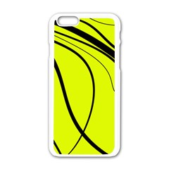 Yellow Decorative Design Apple Iphone 6/6s White Enamel Case by Valentinaart