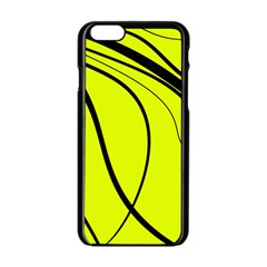 Yellow Decorative Design Apple Iphone 6/6s Black Enamel Case by Valentinaart