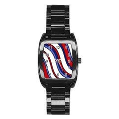 Decorative Lines Stainless Steel Barrel Watch by Valentinaart
