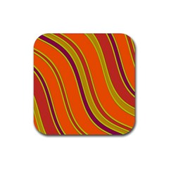 Orange Lines Rubber Coaster (square)  by Valentinaart