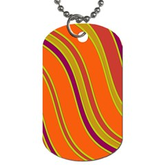 Orange Lines Dog Tag (one Side) by Valentinaart
