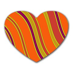 Orange Lines Heart Mousepads by Valentinaart
