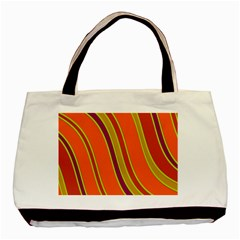 Orange Lines Basic Tote Bag (two Sides) by Valentinaart