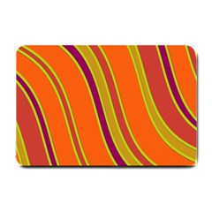 Orange Lines Small Doormat  by Valentinaart
