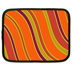 Orange Lines Netbook Case (large) by Valentinaart