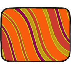 Orange Lines Double Sided Fleece Blanket (mini)  by Valentinaart