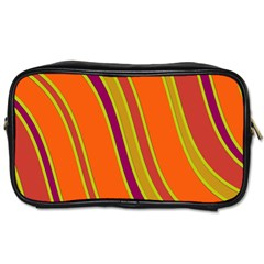 Orange Lines Toiletries Bags 2 Side by Valentinaart