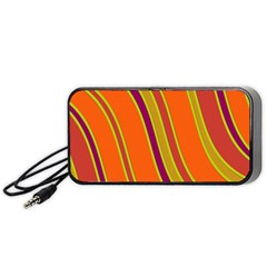 Orange Lines Portable Speaker (black)  by Valentinaart