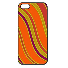 Orange Lines Apple Iphone 5 Seamless Case (black) by Valentinaart