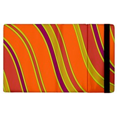 Orange Lines Apple Ipad 3/4 Flip Case by Valentinaart