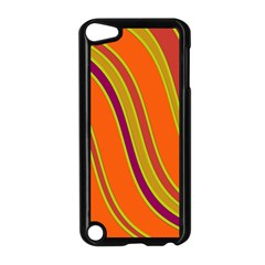 Orange Lines Apple Ipod Touch 5 Case (black) by Valentinaart