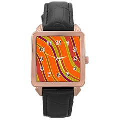 Orange Lines Rose Gold Leather Watch  by Valentinaart