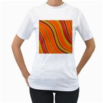 Orange lines Women s T-Shirt (White)  Front