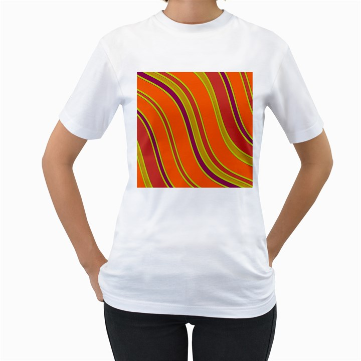 Orange lines Women s T-Shirt (White)