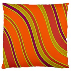Orange Lines Large Flano Cushion Case (one Side) by Valentinaart