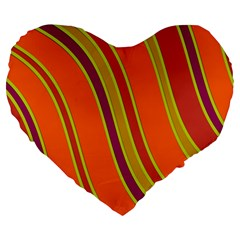 Orange Lines Large 19  Premium Flano Heart Shape Cushions by Valentinaart