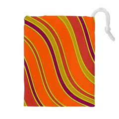 Orange Lines Drawstring Pouches (extra Large) by Valentinaart
