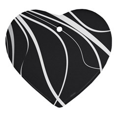 Black And White Elegant Design Ornament (heart)  by Valentinaart