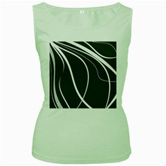 Black And White Elegant Design Women s Green Tank Top by Valentinaart