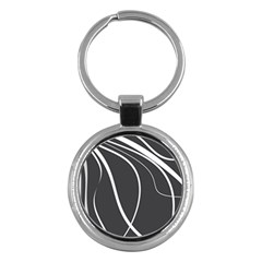 Black And White Elegant Design Key Chains (round)  by Valentinaart