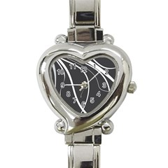 Black And White Elegant Design Heart Italian Charm Watch by Valentinaart