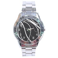 Black And White Elegant Design Stainless Steel Analogue Watch by Valentinaart