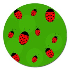 Ladybugs Magnet 5  (round) by Valentinaart