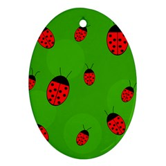 Ladybugs Oval Ornament (two Sides) by Valentinaart
